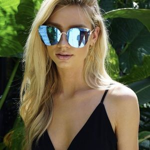 Quay Australia Lexi Blue Mirrored Sunglasses